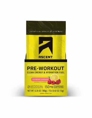 Ascent Pre-Workout Raspberry Lemonade Drink Mix Packets Perspective: front