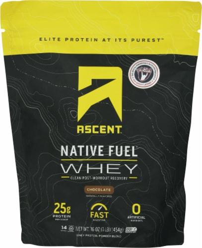 Ascent Native Fuel Chocolate Whey Protein Powder Blend Perspective: front