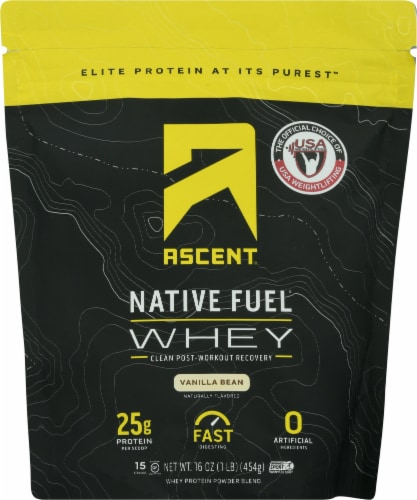 Ascent Vanilla Bean Native Fuel Whey Protein Powder Perspective: front
