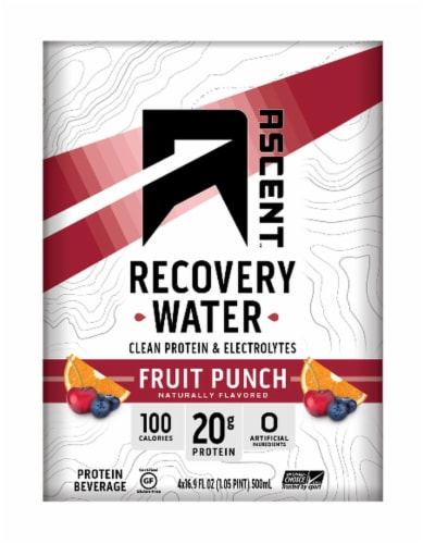 Ascent Recovery Water Fruit Punch Flavored Protein Beverage Perspective: front