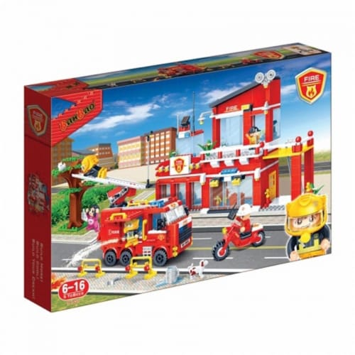 BanBao Interlocking Blocks Fire Station 7101 (828 Pcs) Perspective: front