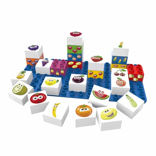 27 pcs BiOBUDDi Fruit Learning Building Blocks Set Perspective: front