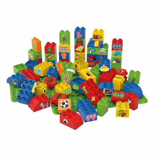 60 pcs BiOBUDDi Educational Blocks with 2 Baseplates – Set 1 Perspective: front