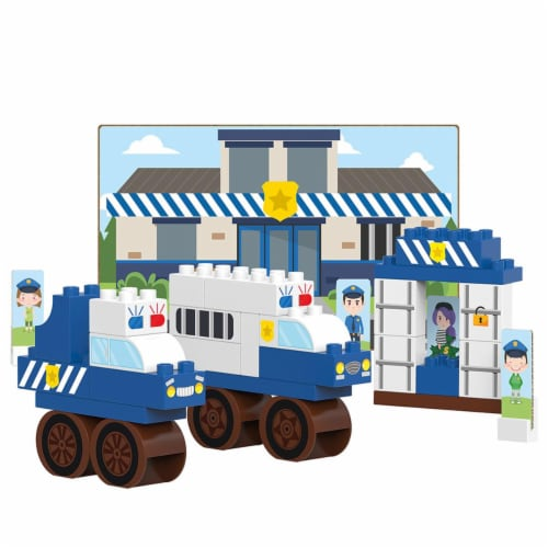 41 pcs BiOBUDDi Police Station Building Blocks Set Perspective: front