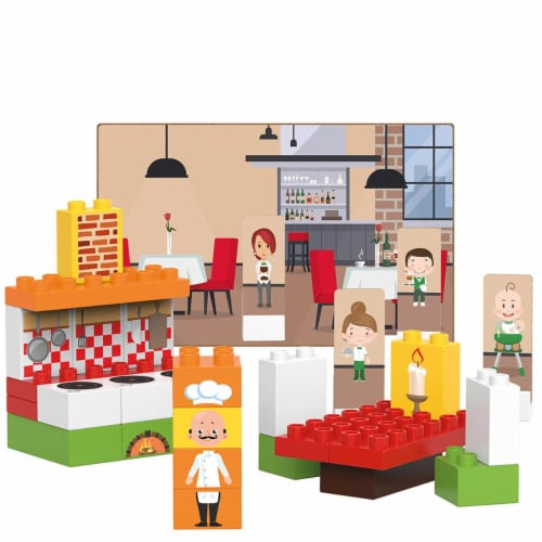 40 pcs BiOBUDDi Restaurant Building Blocks Set Perspective: front