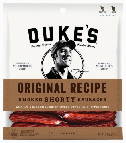 Duke's Original Recipe Shorty Smoked Sausages Perspective: front