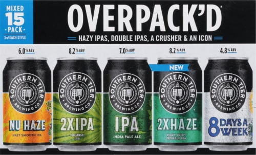 Southern Tier Brewing Company Overpack'd Sampler Beer 15 Cans Perspective: front