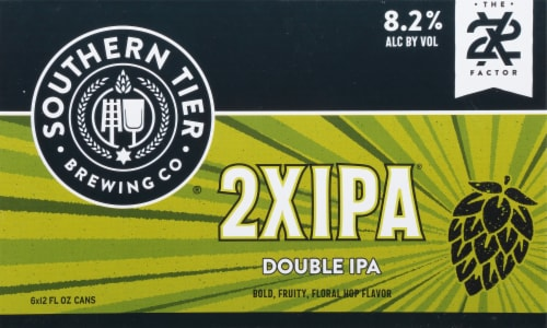 Southern Tier Brewing Company 2X Double IPA Beer 6 Cans Perspective: front