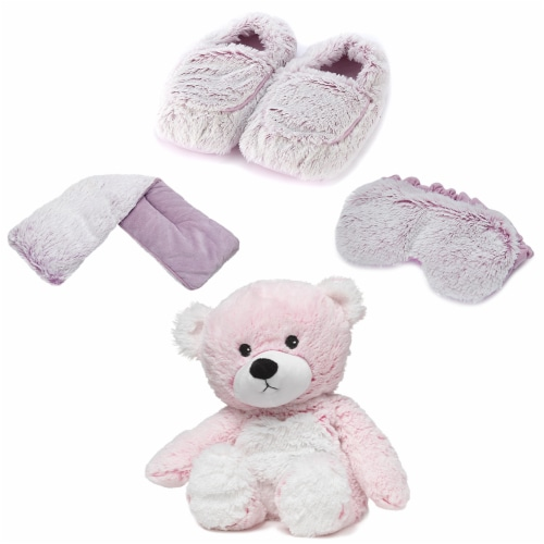 Warmies Bear and Accessories Microwavable Fresh Lavendar Scented Plush - Pink Marshmallow Perspective: front