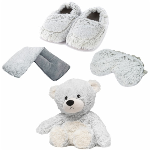 Warmies Bear Scented Plush Sleep Set - Gray Perspective: front