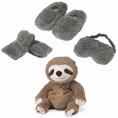 Warmies Sloth Scented Plush Sleep Set - Gray Perspective: front