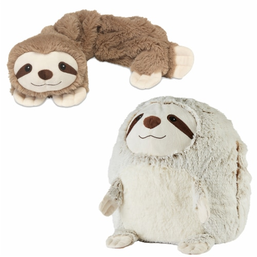 Warmies Sloth French Lavender Scented Handwarmer with Neck Wrap Set Perspective: front