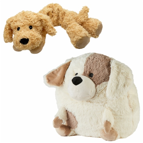 Warmies Puppy French Lavender Scented Handwarmer with Neck Wrap Set Perspective: front