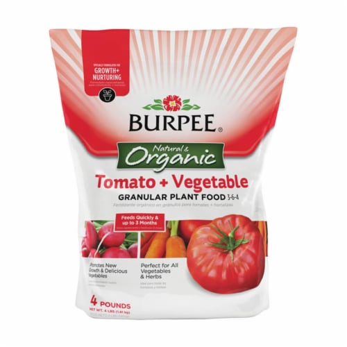 Burpee 7504046 4 lbs Tomato & Vegetable Granules Plant Food Perspective: front