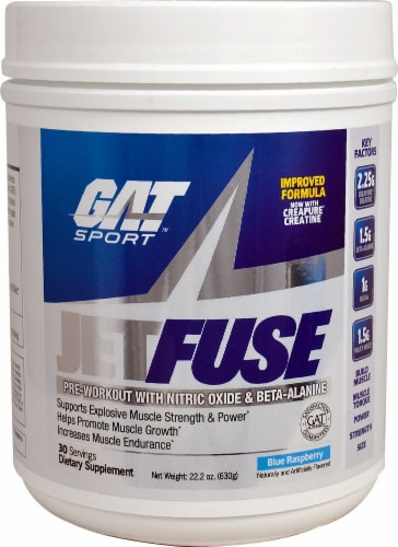 GAT  JetFuse Pre-Workout   Blue Raspberry Perspective: front