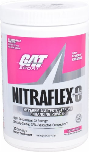 GAT Sport Nitraflex Cotton Candy Flavored Hyperemia & Testosterone Enhancing Powder Perspective: front