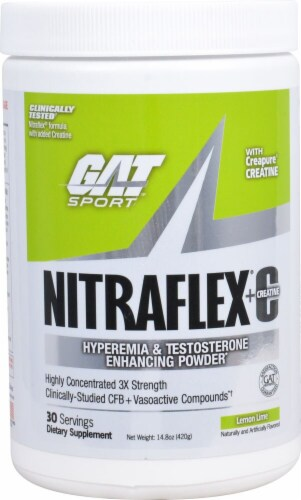 GAT Sport Nitraflex Lemon Lime Flavored Hyperemia & Testosterone Enhancing Powder Perspective: front