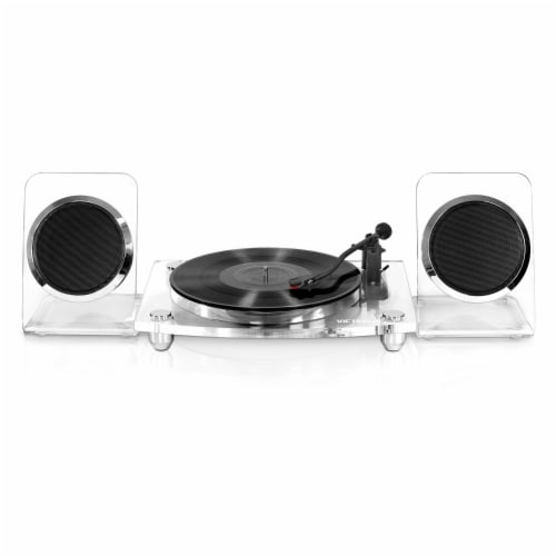 Victrola Acrylic Bluetooth Record Player and Speakers - Clear Perspective: front