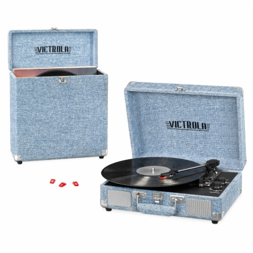 Victrola Suitcase Record Player & Carrying Case - Denim Blue Perspective: front