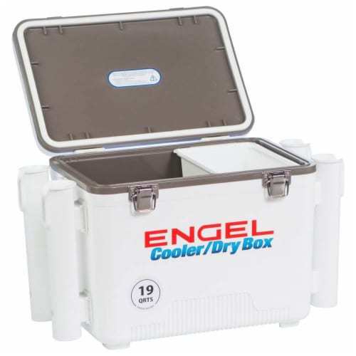 Engel 19 Quart Fishing Rod Holder Attachment Insulated Dry Box Ice Cooler, White Perspective: front