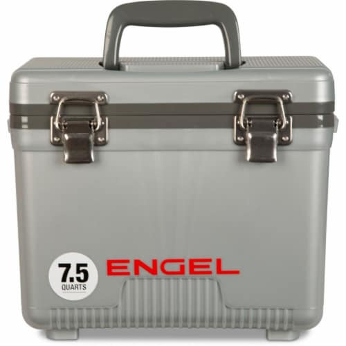 Engel 7.5-Quart EVA Gasket Seal Ice and DryBox Cooler with Carry Handles, Silver Perspective: front