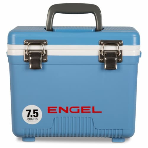 Engel 7.5-Quart EVA Gasket Seal Ice and DryBox Cooler with Carry Handles, Blue Perspective: front