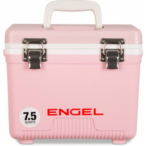 Engel 7.5-Quart EVA Gasket Seal Ice and DryBox Cooler with Carry Handles, Pink Perspective: front