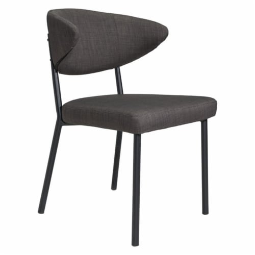 Zuo Pontus Dining Chair in Charcoal Gray (Set of 2) Perspective: front
