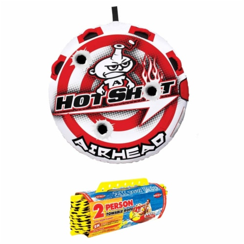 Airhead Hot Shot 2 Inflatable Round Single Rider Towable Tube with 60' Tow Rope Perspective: front