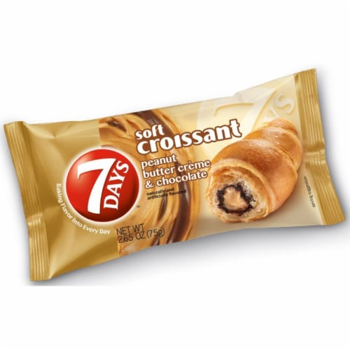 7 Days Peanut Butter and Chocolate Soft Croissant, 2.65 Ounce -- 24 per case. Perspective: front