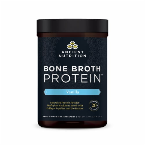 Ancient Nutrition Vanilla Bone Broth Protein Perspective: front