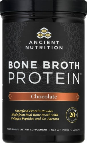 Ancient Nutrition Chocolate Bone Broth Protein Powder Perspective: front
