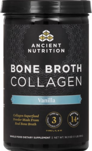 Ancient Nutrition Vanilla Bone Broth Collagen Perspective: front