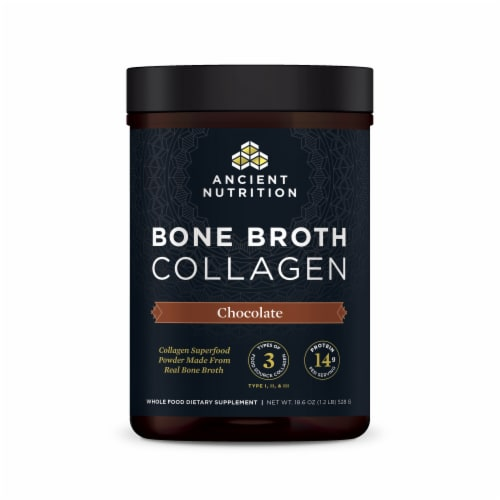 Ancient Nutrition Chocolate Bone Broth Collagen Perspective: front