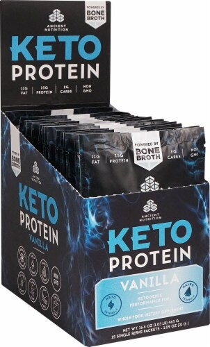 Ancient Nutrition  KetoPROTEIN™ Packet Tray   Vanilla Perspective: front