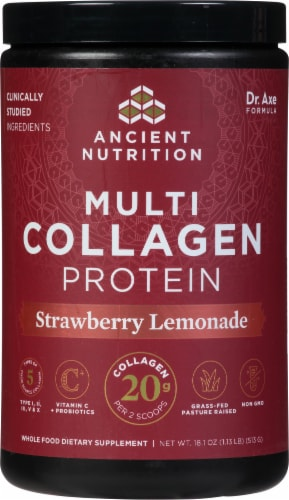 Ancient Nutrition Strawberry Lemonade Multi Collagen Protein Powder Perspective: front