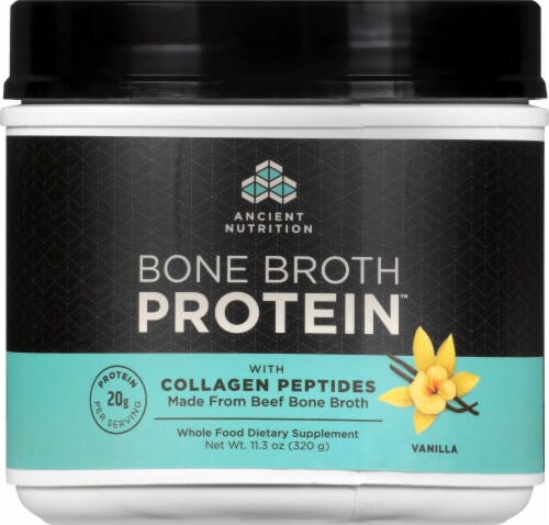 Ancient Nutrition Bone Broth Vanilla Protein Superfood Powder Perspective: front