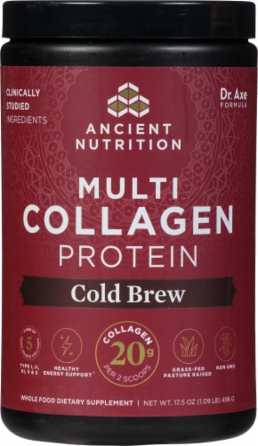 Ancient Nutrition Cold Brew Collagen Multi Collagen Protein Powder Perspective: front