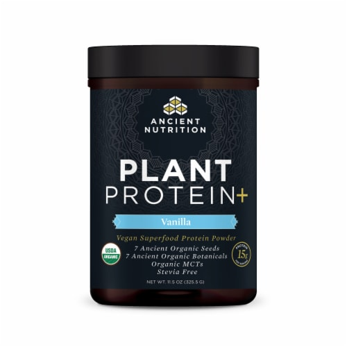 Ancient Nutrition Plant Protein+ Vanilla Vegan Superfood Protein Powder Perspective: front