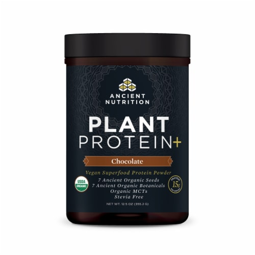 Ancient Nutrition Plant Protein+ Chocolate Vegan Superfood Protein Powder Perspective: front