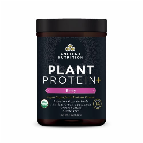 Ancient Nutrition Plant Protein+ Berry Vegan Superfood Protein Powder Perspective: front