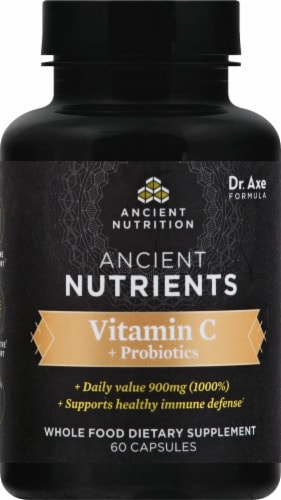Ancient Nutrition Ancient Nutrients Vitamin C plus Probiotics Capsules Perspective: front