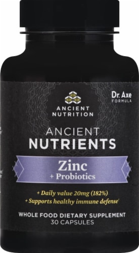 Ancient Nutrition Ancient Nutrients Zinc + Probiotics Capsules 30 Count Perspective: front