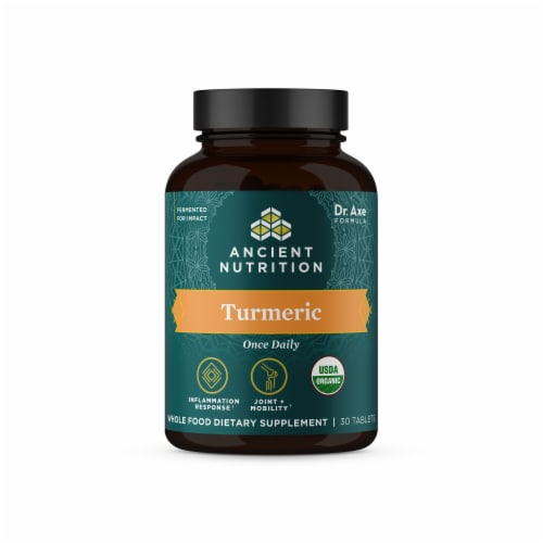 Ancient Nutrition Organic Turmeric Whole Food Dietary Supplement Tablets Perspective: front