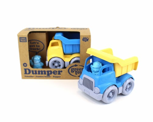 Green Toys Dumper Construction Truck Toy - Blue and Yellow Perspective: front