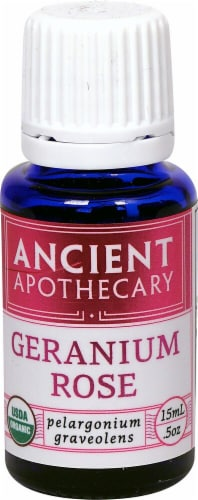 Ancient Apothecary Organic Essential Geranium Rose Oil Perspective: front