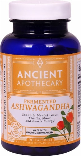 Ancient Nutrition Ancient Apothecary Organic Fermented Ashwagandha Dietary Supplement Capsules Perspective: front