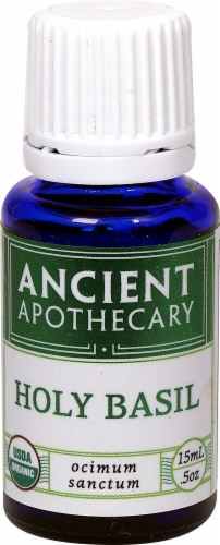 Ancient Apothecary Organic Essential Holy Basil Oil Perspective: front
