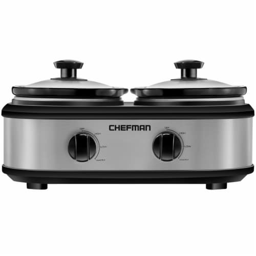 Chefman Stainless Steel Double Slow Cooker - Silver/Black Perspective: front