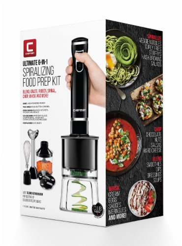 Chefman Electric Spiralizer & Immersion Blender 6-IN-1 Food Prep Combo Kit Perspective: front